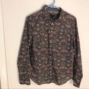 Talbots plum floral cotton button down 6 small